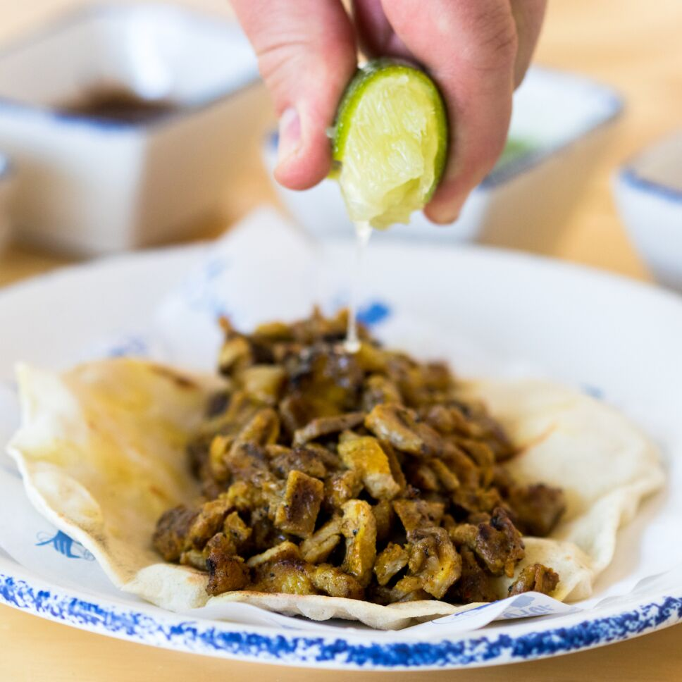 taco shawarma cerdo yemenita