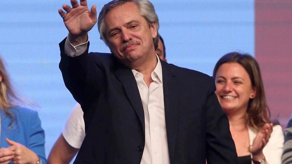 Imagen de archivo del nuevo presidente de Argentina, Alberto Fernández, durante la celebración de su victoria electoral en Buenos Aires.