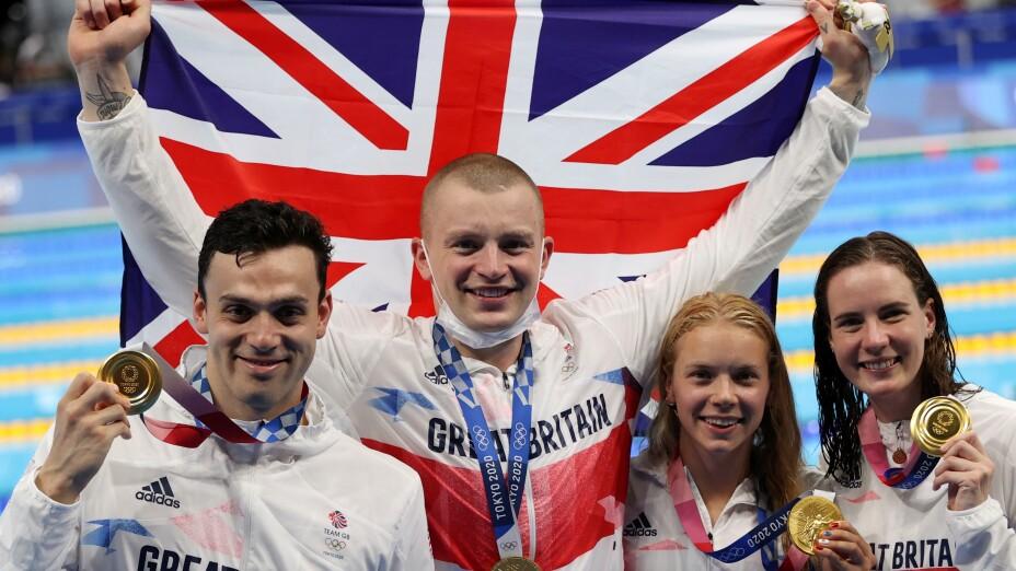 Natación, Gran Bretaña 4x100