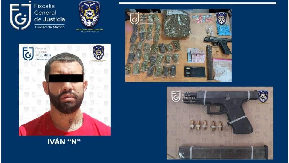 Arma de fuego y drogas decomisadas