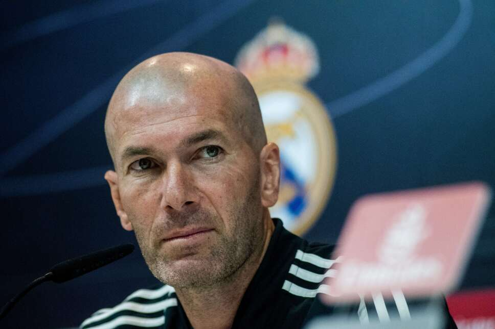 Real Madrid coach Zinedine Zidane during a press conference
