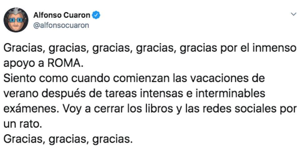 Alfonso Cuarón y su tuit