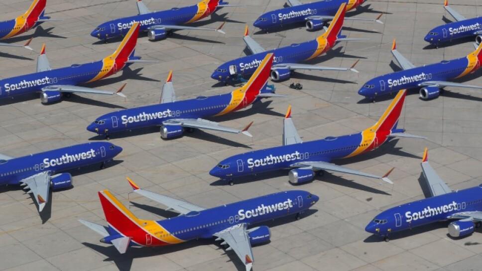 Foto de archivo ilustrativa de varios  Boeing 737 MAX 8 de Southwest Airlines estacionados en un aeropuerto en California