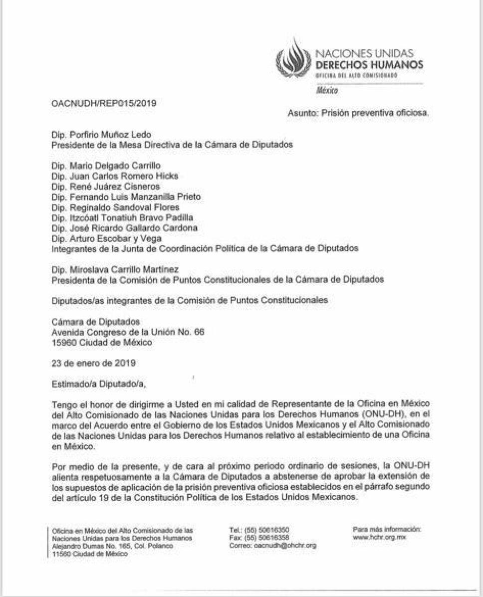 ONU carta diputados