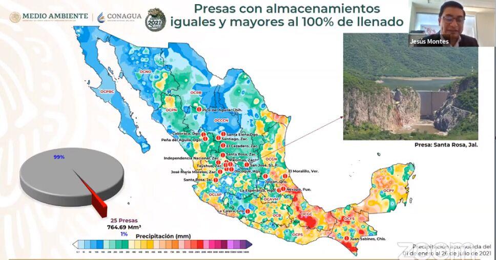 Informe Cutzamala: De las 210 principales presas del país hasta el 26 de julio, 25 están al 100%.