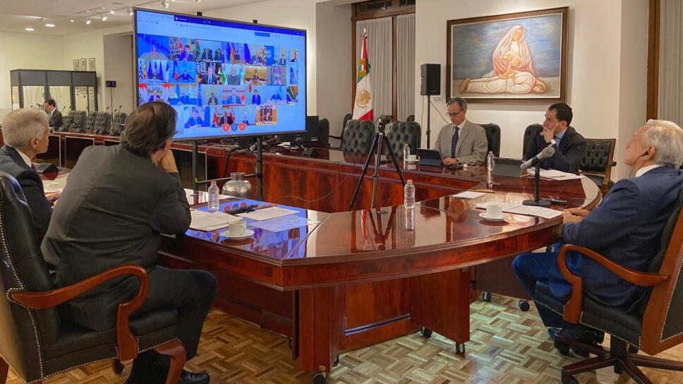 AMLO publica video de cómo fue la conferencia virtual con el G20