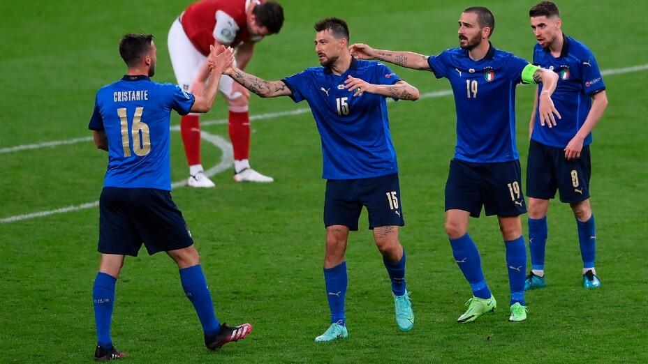 Italia celebra un gol en la Eurocopa