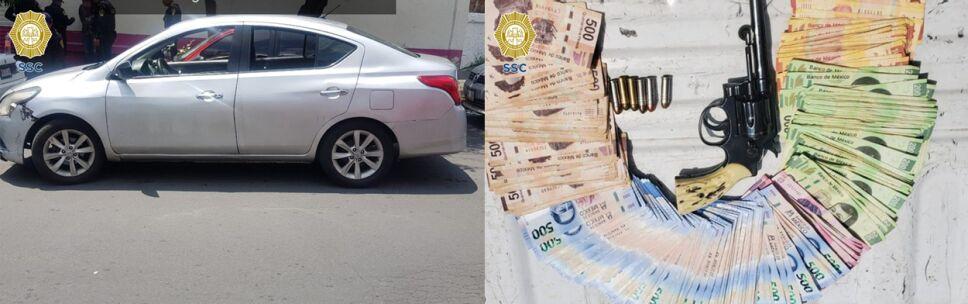 Auto de presuntos asaltantes y dinero robado