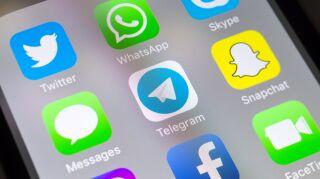 Telegram and social media apps on cellphone