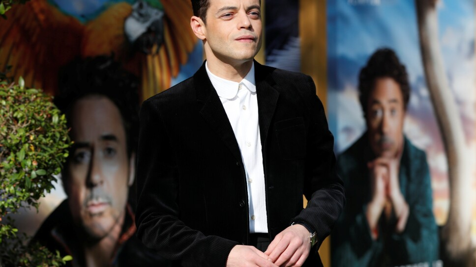 """Cast member Malek poses at the premiere for the film """"Dolittle"""" in Los Angeles"""