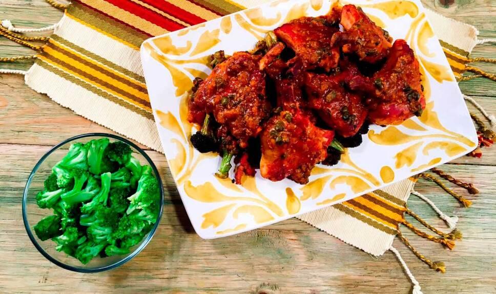 Receta Chuleta de cerdo con brócoli frito