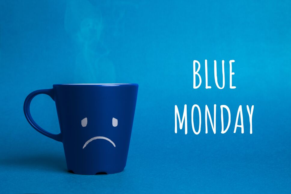 Stock photo of a blue monday cup on a blue background