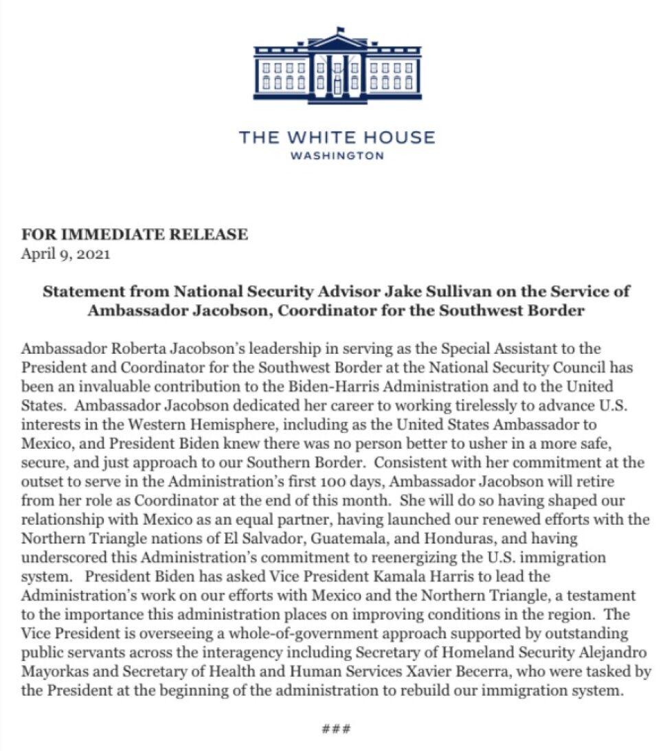 Roberta Jacobson, fuera de la Coordinación de asuntos para la frontera sur
