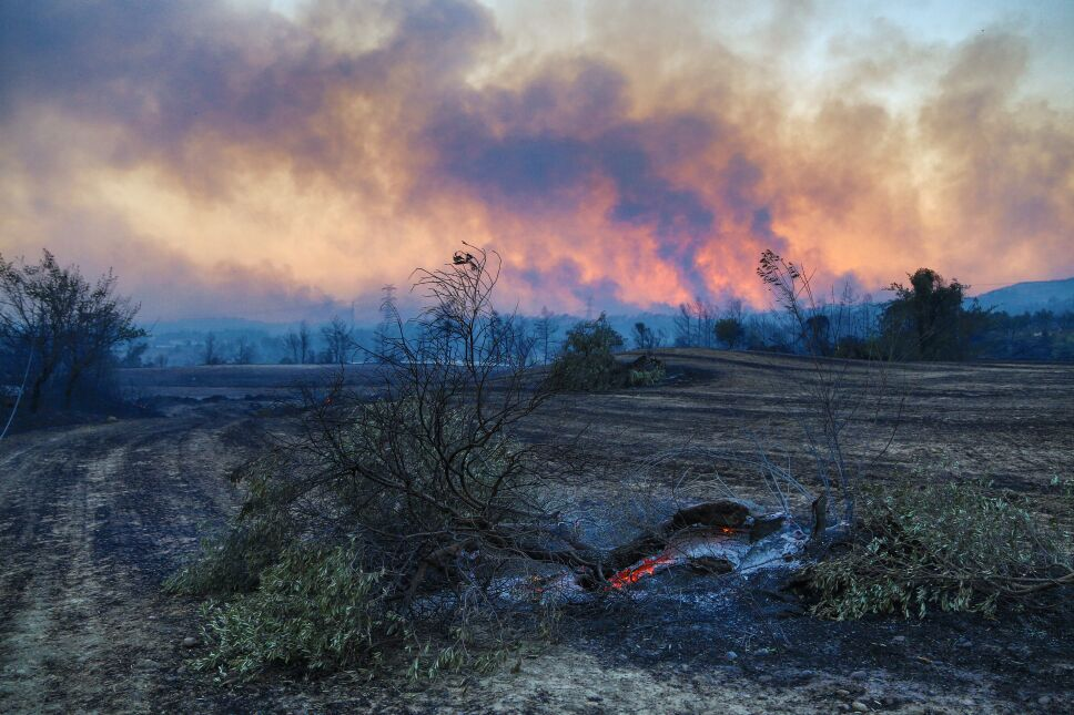 El incendio forestal al sur de Turquía provocó columnas de humo negro cerca de Manavgat, a 75 km al este de la ciudad turística de Antalya, Turquía.