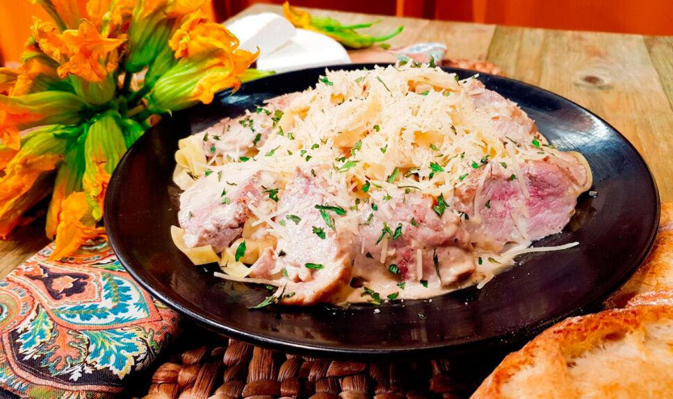 Receta Pasta con filete de cerdo y crema de tequila