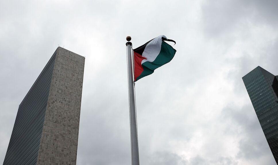 bandera palestina ondea por primera vez en la onu