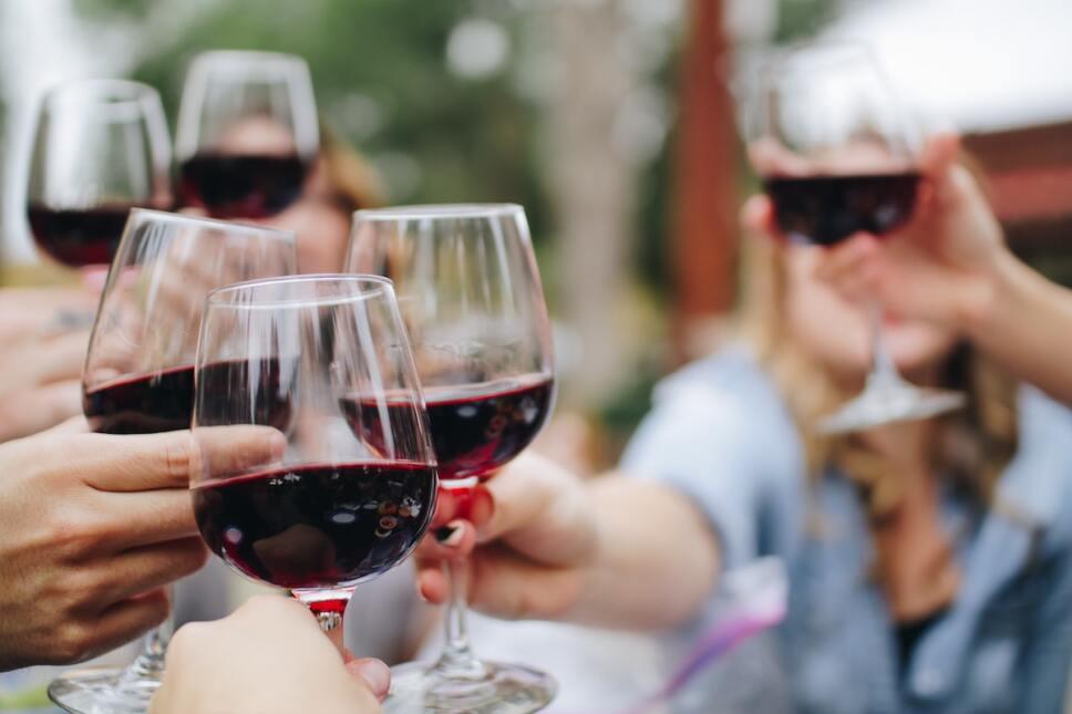 amigos brindando con vino vasija