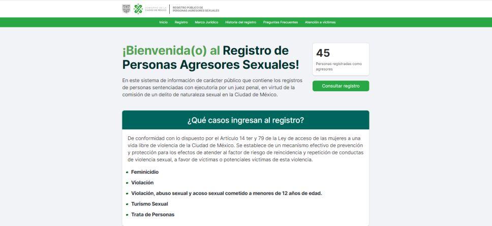 Registro de agresores sexuales en la CDMX