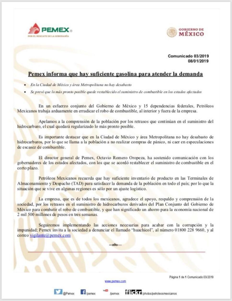 Comunicado de Pemex sobre desabasto de gasolina