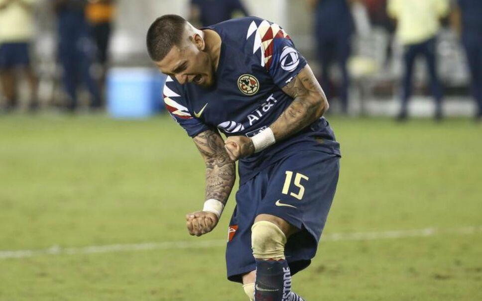 Nicolás Castillo celebrando un gol con América. Estadio BBVA, Houston, Texas, EEUU. 24 de julio de 2019. Imagen, Reuters.