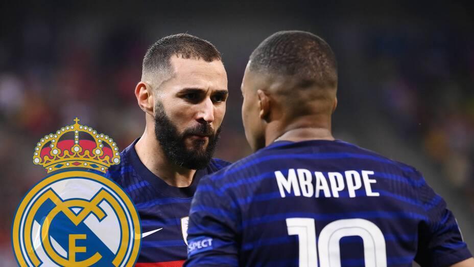 Karim Benzema y Kylian Mbappé en el Real Madrid.