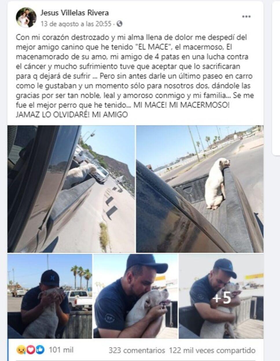 Jesús Villelas Rivera le dio un último paseo a su perrito antes de dormirlo pues tenía cáncer terminal.