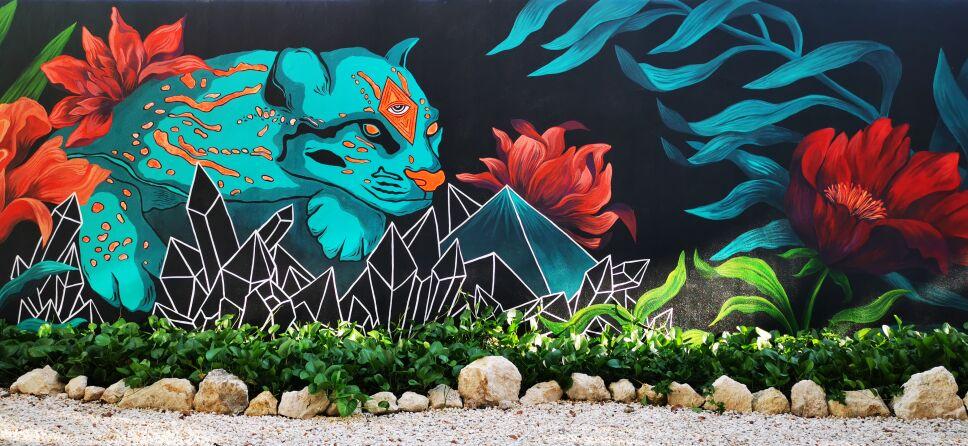 murales girafe Tulum