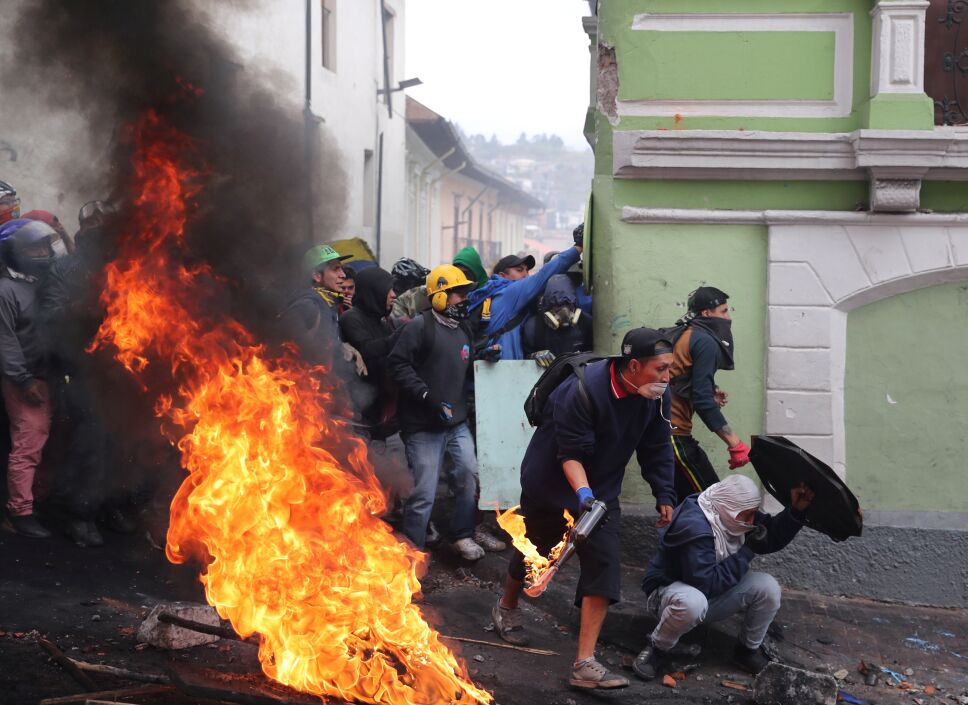 Protests against Ecuador President Lenin Moreno's austerity measures, in Quito