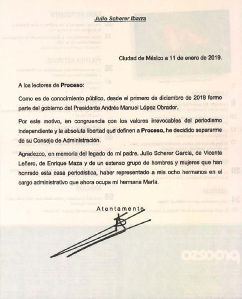 Julio Scherer, Consejero Jurídico de AMLO, se separa de Proceso