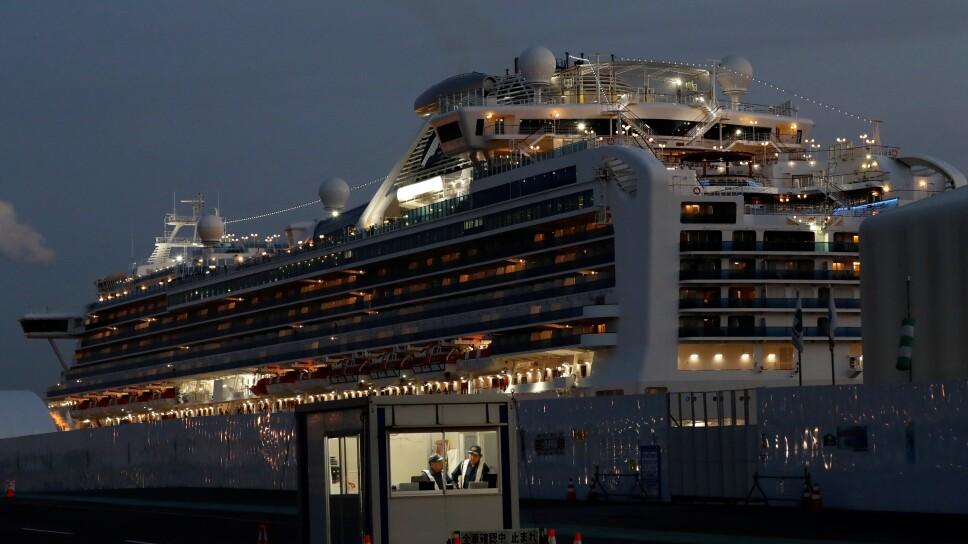 The Diamond Princess cruise ship lies docked at the Daikoku Pier Cruise Terminal in Yokohama
