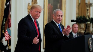 U.S. President Trump and Israel's Prime Minister Netanyahu discuss Middle East peace proposal at White House in Washington