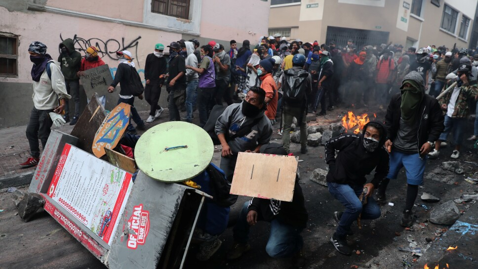 Protests against Ecuador President Lenin Moreno's austerity measures, in Quito