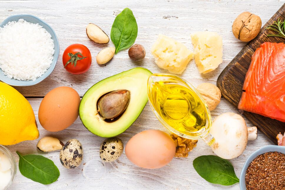 Healthy food low carb keto ketogenic diet. high omega 3, good fat and protein products on white wooden background