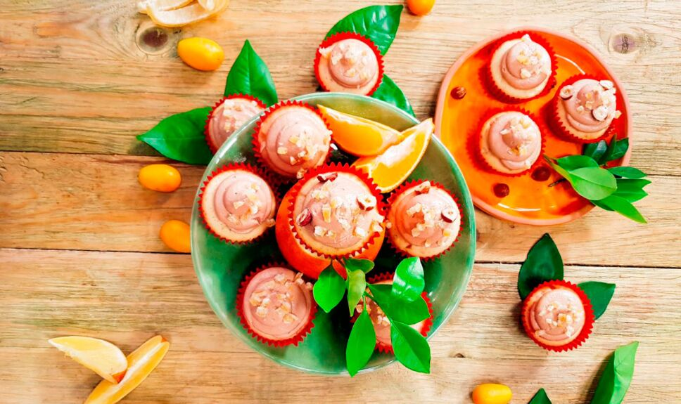 Receta Mantecadas de naraja y crema de avellana