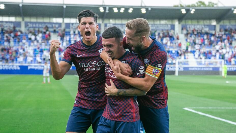 Huesca celebra un gol en la Liga SmartBank