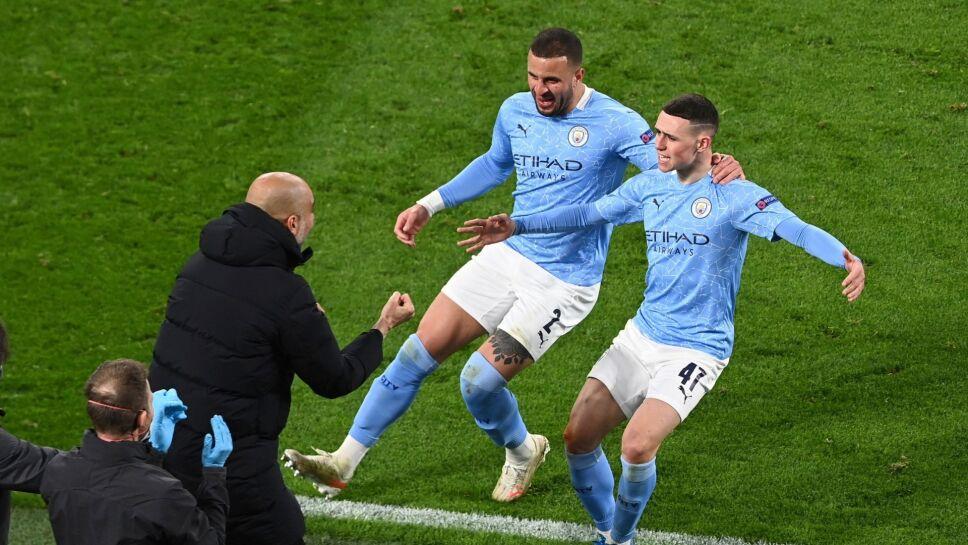Manchester City y Pep Guardiola celebran pase a smifiales de la Champions 14 de abril del 2021 Federico Gambarini Pool via AP.jpg