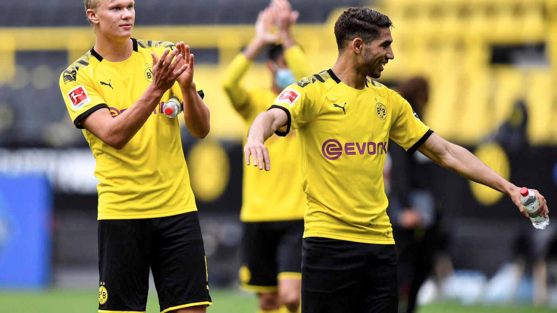 Haaland siguió las medidas sanitarias en el regreso de la Bundesliga.