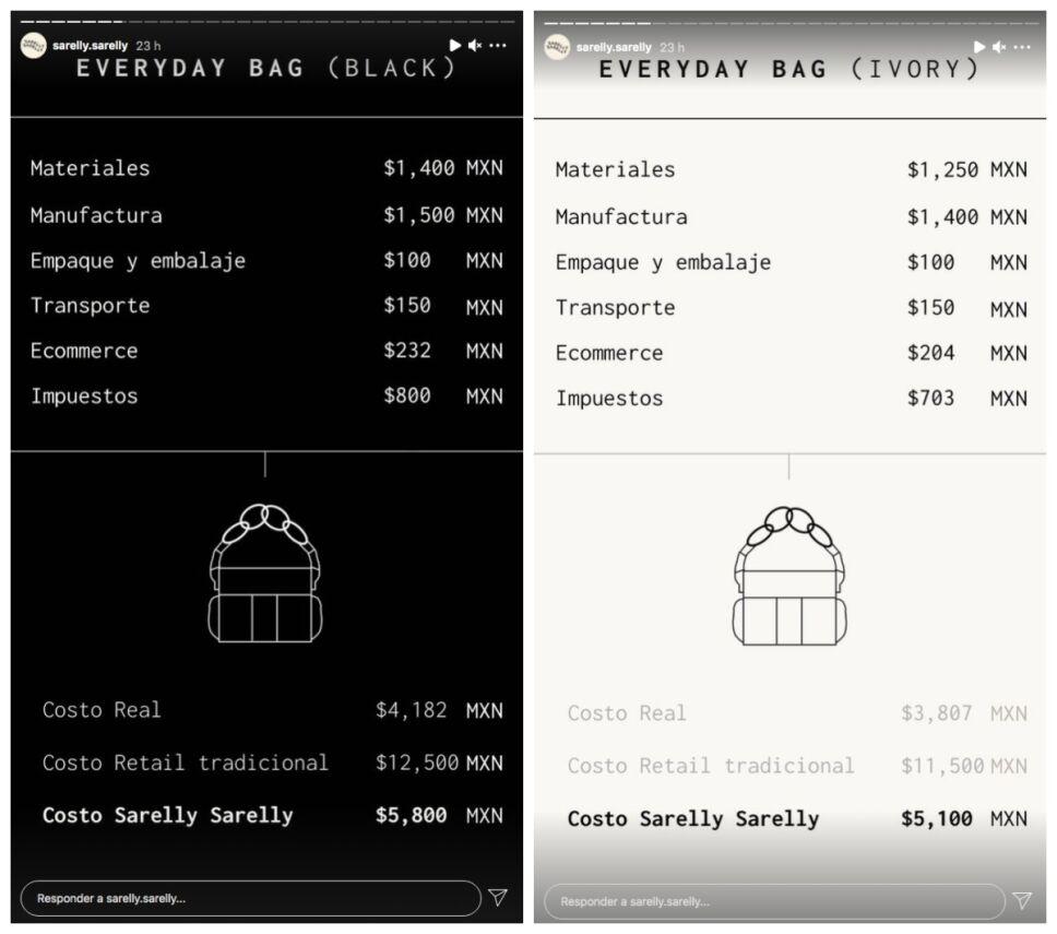 costos bolsas ana sarelly