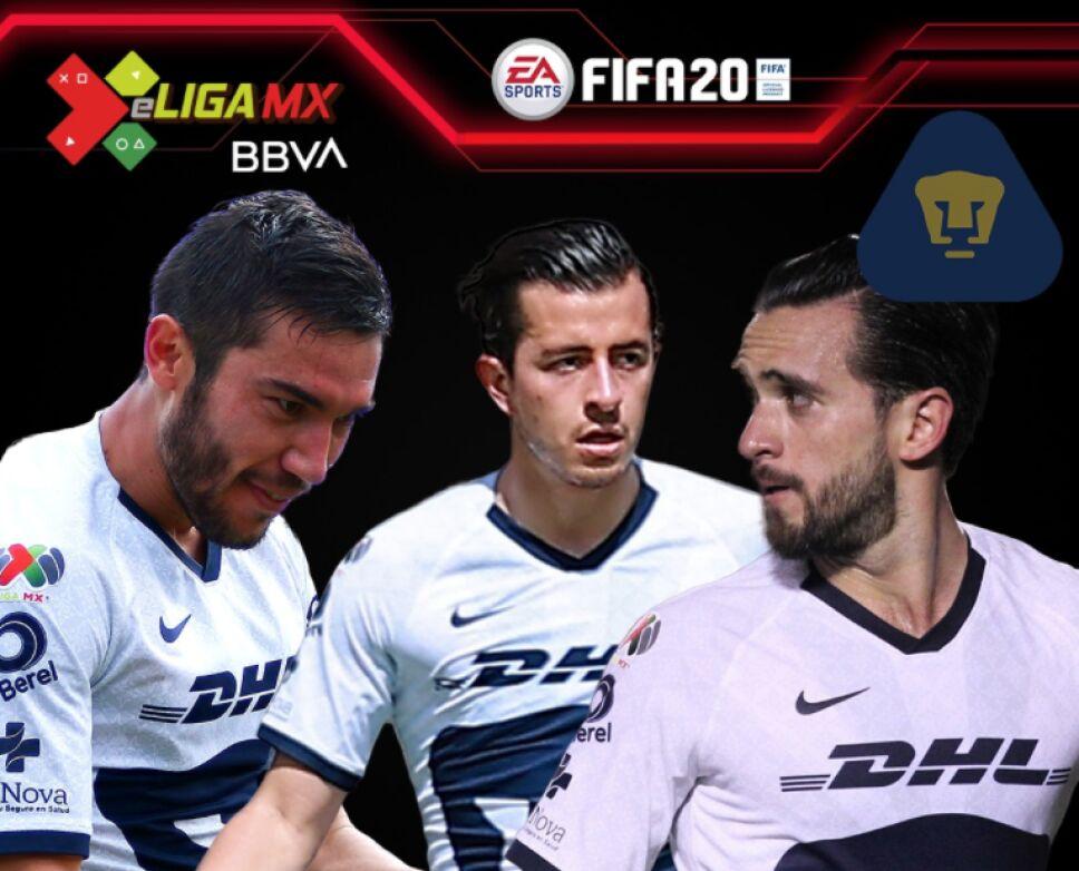 Los jugadores de Pumas UNAM para la e Liga MX