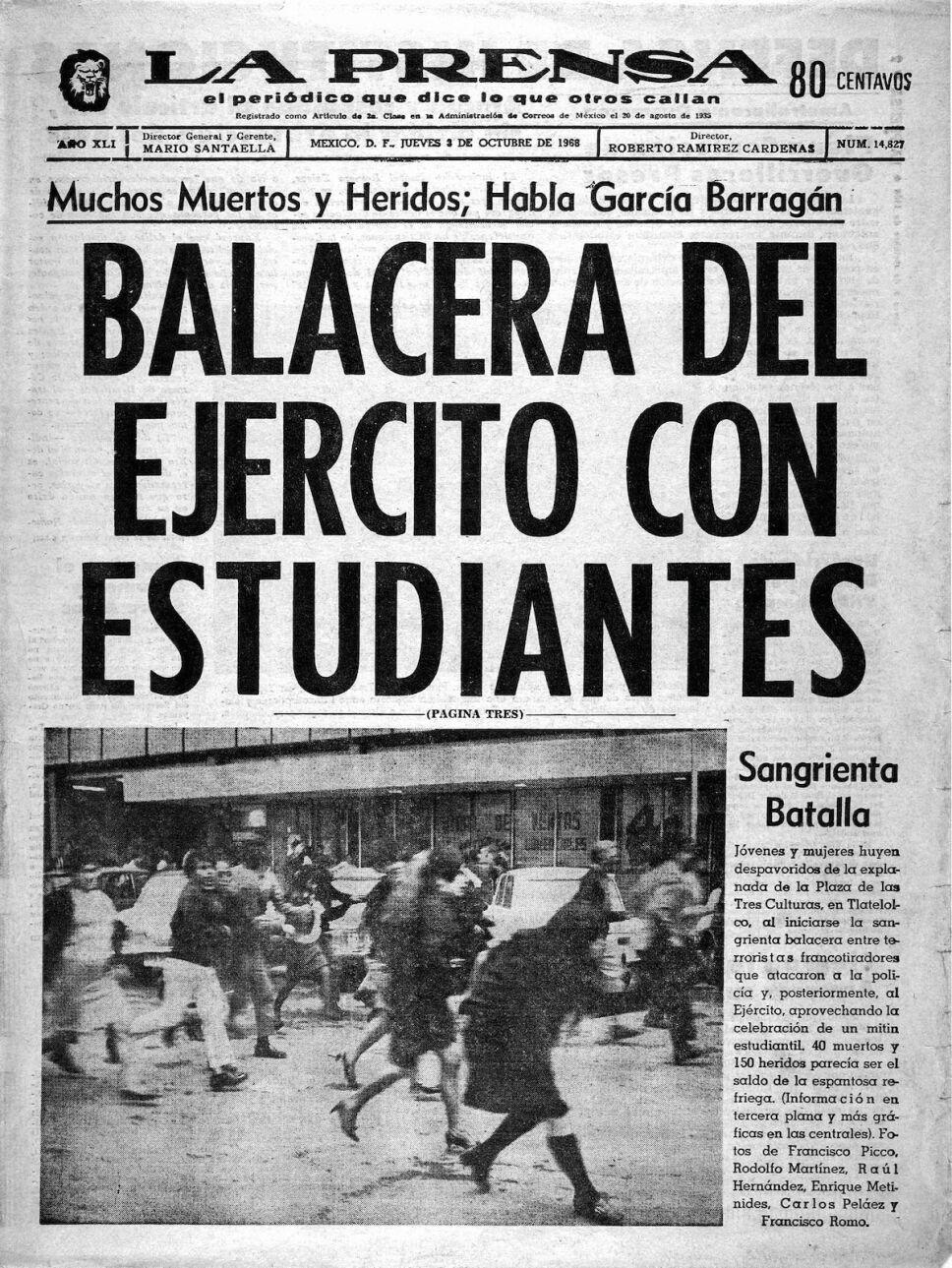 la prensa periodico matanza tlatelolco 68