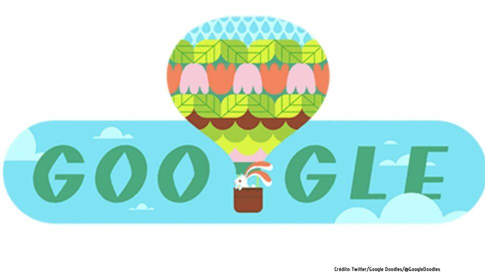 Google celebra el equinoccio de primavera con un divertido doodle de un conejo montando en un globo aerostático.