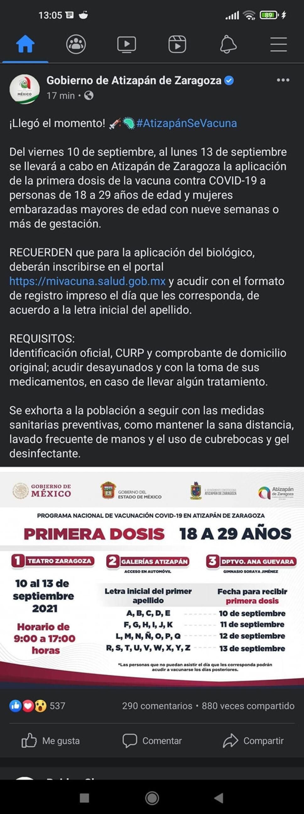 Anuncian vacunación a mayores de 18 años en Atizapán, Edomex