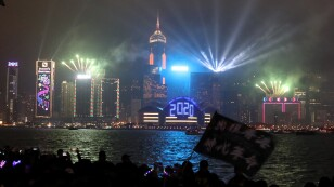 Anti-government demonstrators protest during the 2020 countdown on New Year's Eve in Hong Kong