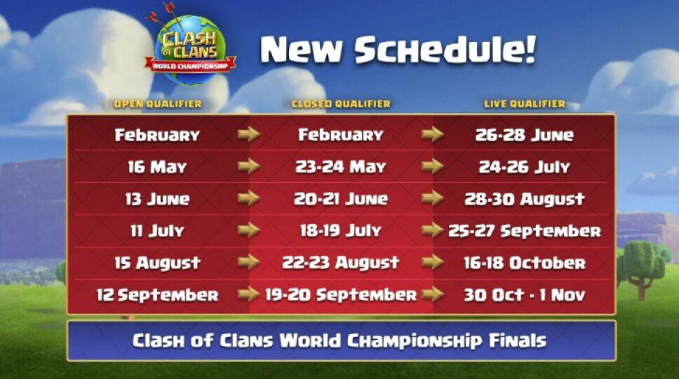 Calendario campeonato de Clahs of clans