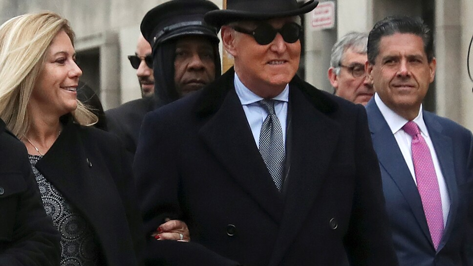 Roger Stone, former campaign adviser to U.S. President Donald Trump, arrives at the federal courthouse where he is set to be sentenced, in Washington
