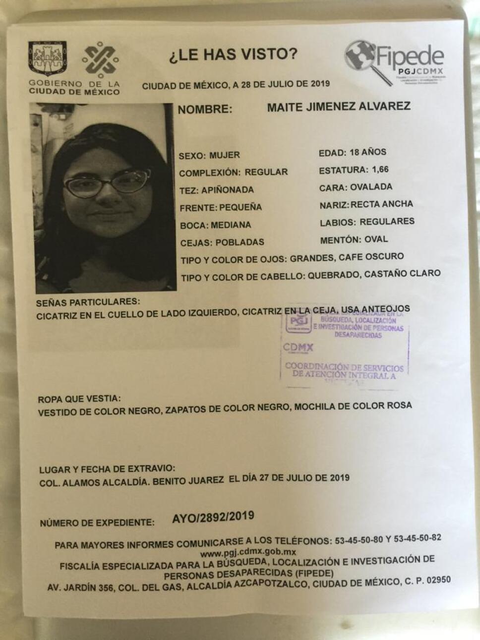 Ayúdanos a encontrar a Maité Jiménez Álvarez