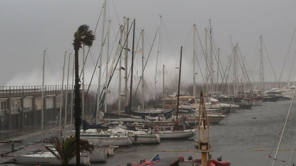 """The storm """"Gloria"""" is pictured at the Olympic Port of Barcelona"""
