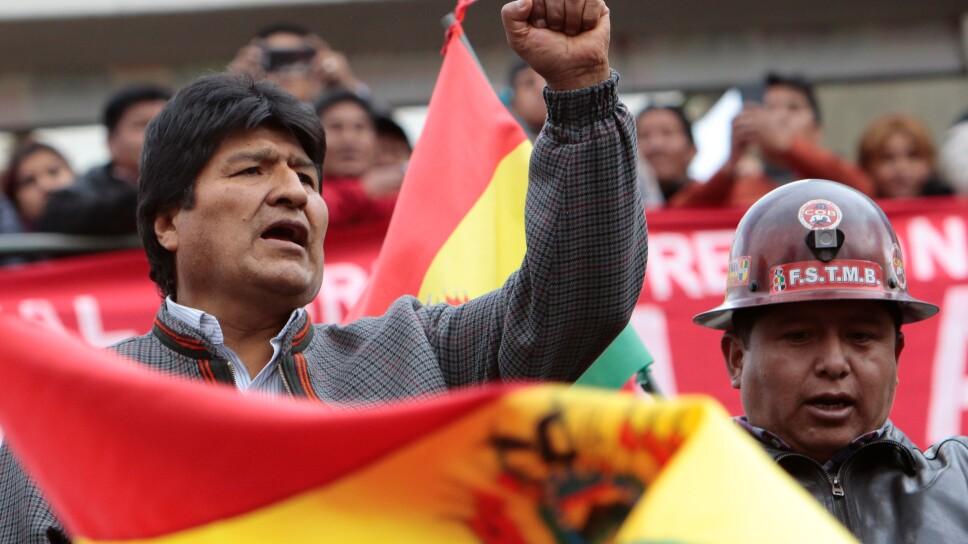 El presidente de Bolivia, Evo Morales, durante un mitin en La Paz