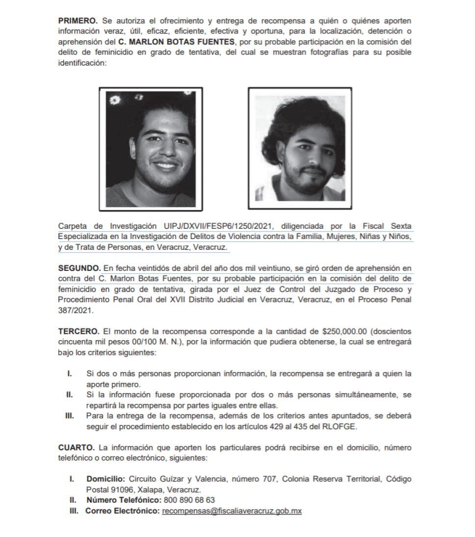 Veracruz ofrece 250 mil pesos para dar con Marlon Botas Fuentes