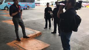 Otoniel Martínez en la Terminal de autobuses del Norte donde vio en acción a 4 elementos caninos de la Policía Federal.
